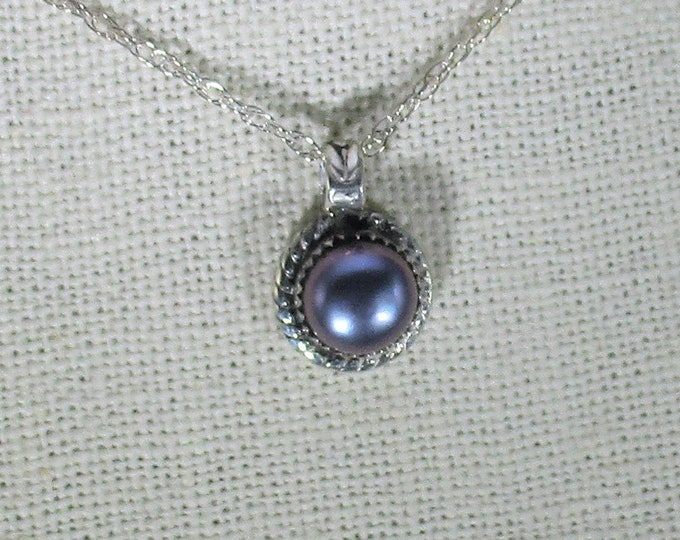 genuine freshwater cultured black pearl handmade sterling silver pendant necklace