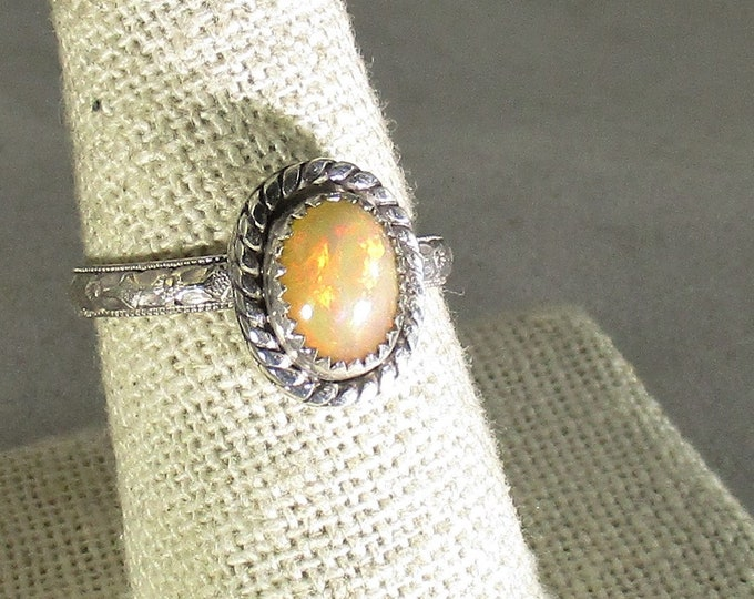 genuine Ethiopian opal gemstone handmade sterling silver statement ring size 9