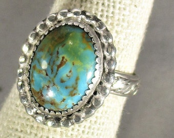 genuine blue green kingman turquoise handmade sterling silver ring size 6