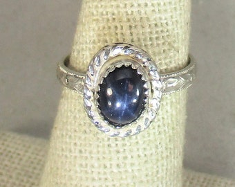 Genuine six ray star blue sapphire handmade sterling silver statement ring size 6