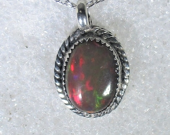 genuine Ethiopian opal gemstone handmade sterling silver pendant necklace