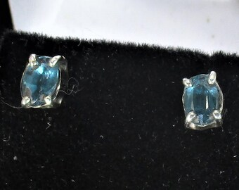 genuine kyanite gemstones handmade sterling silver stud earrings