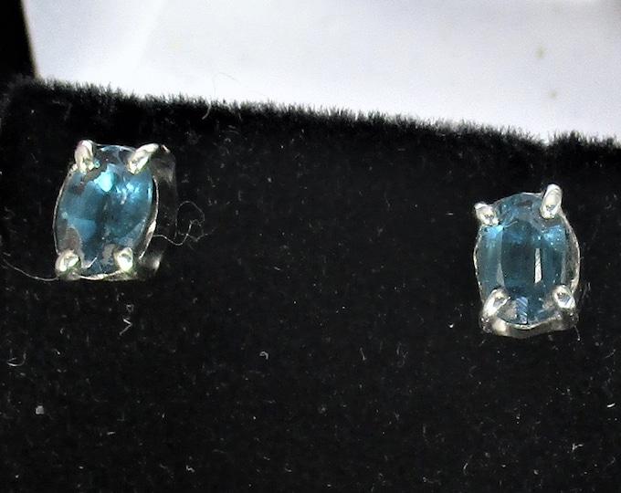 genuine kyanite gemstones handmade sterling silver stud earrings