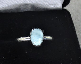 genuine larimar gemstone handmade sterling silver statement solitaire ring size 7 3/4