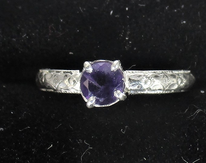 genuine amethyst gemstone handmade sterling silver solitaire ring size 8