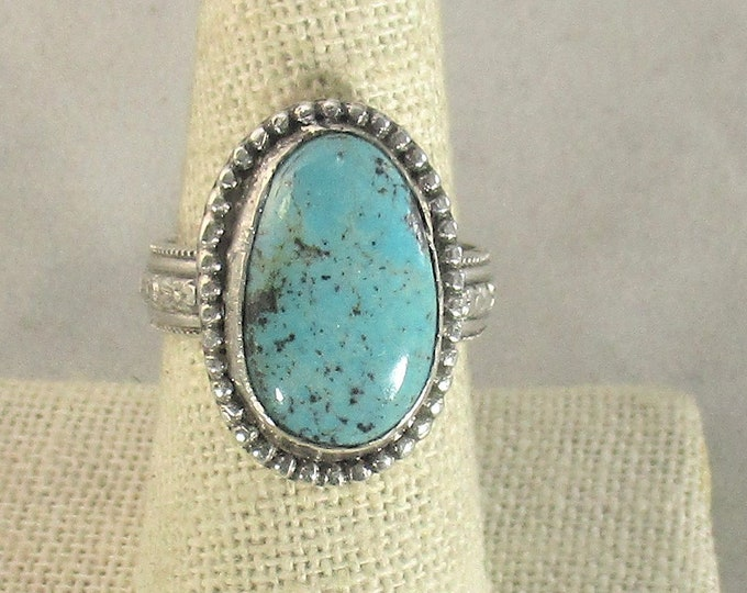 genuine Kingman old stock High blue turquoise gemstone is set in handmade sterling silver statement ring size 9
