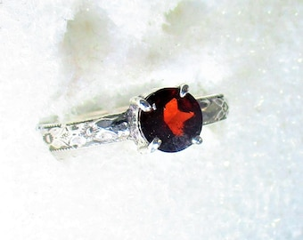 Genuine 6mm red garnet handmade sterling silver solitaire stacking ring by Kelnjo  sz 7 1/4