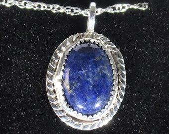 genuine lapis gemstone handmade sterling silver pendant necklace
