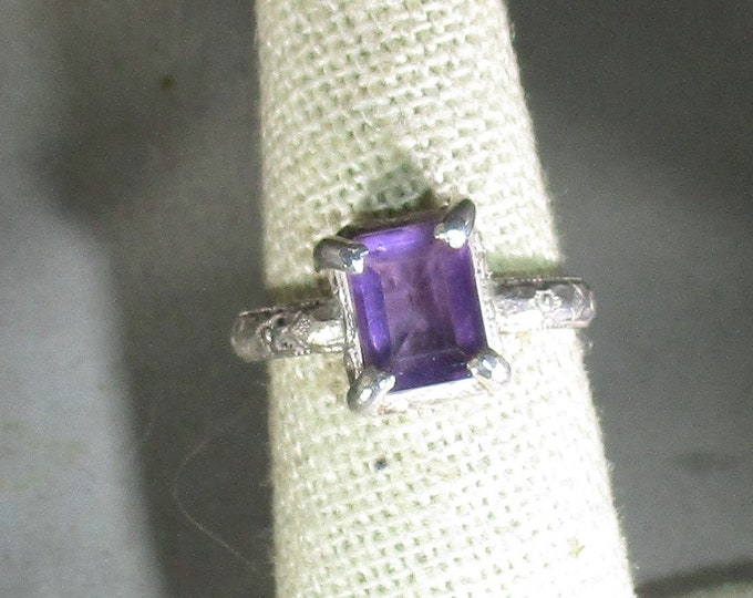 genuine amethyst gemstone handmade sterling silver statement ring size 6