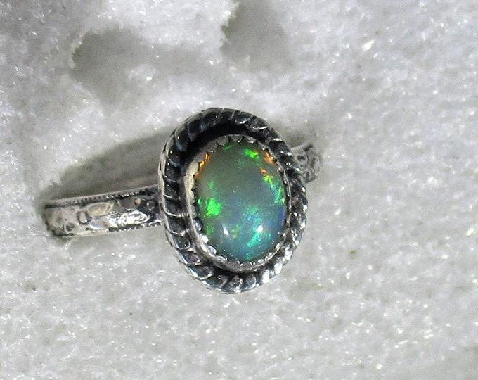 genuine Ethiopian opal gemstone handmade sterling silver statement ring size 8 3/4