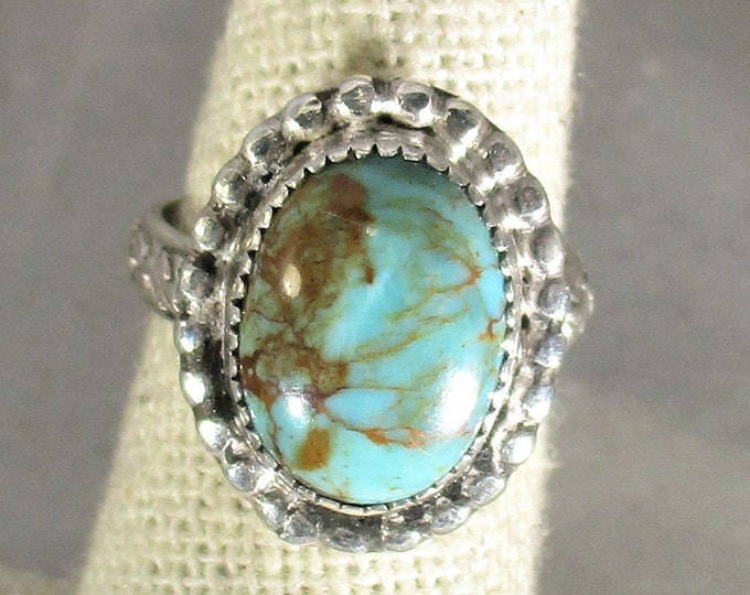 genuine blue green Kingman Arizona turquoise handmade sterling silver statement ring size 7