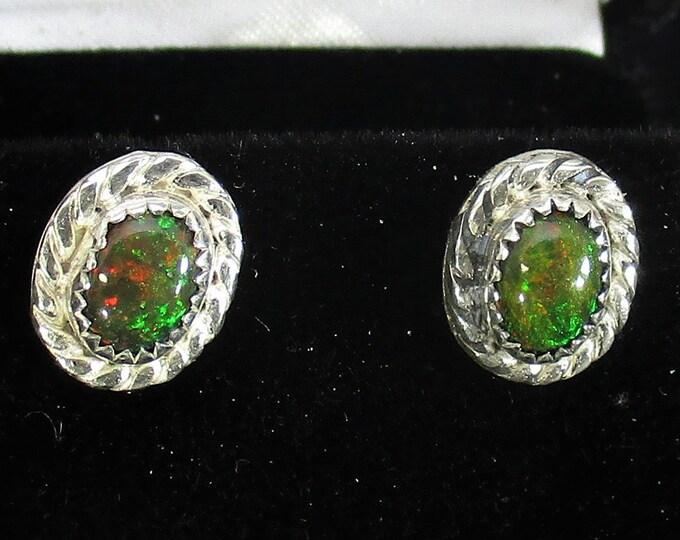 genuine black Ethiopian opal gemstone handmade sterling silver stud earrings