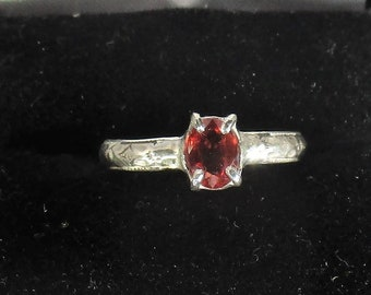 flawless orange red sapphire gemstone handmade sterling silver ring size 6 1/4