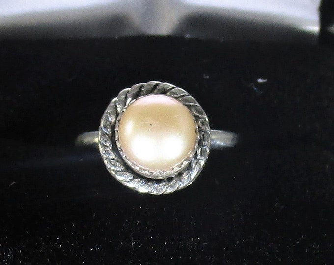 genuine pink cultured freshwater pearl handmade silver statement ring size 5