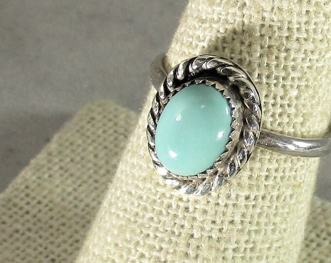 genuine Arizona turquoise gemstone cabachon handmade sterling silver ring size 8