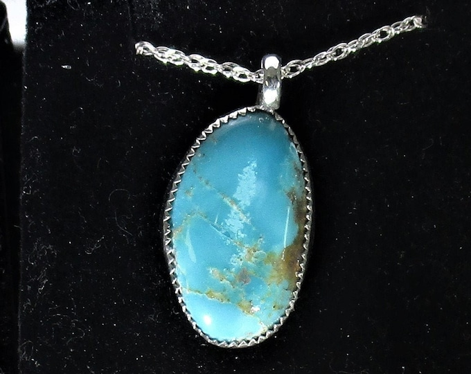 genuine old stock Ithaca peak high blue Kingman turquoise sterling silver pendant necklace