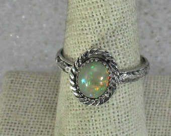 genuine Ethiopian opal gemstone handmade sterling silver statement ring size 7