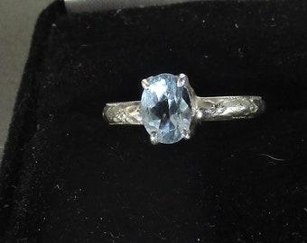 genuine swiss blue topaz gemstone handmade sterling silver solitaire statement ring size 6