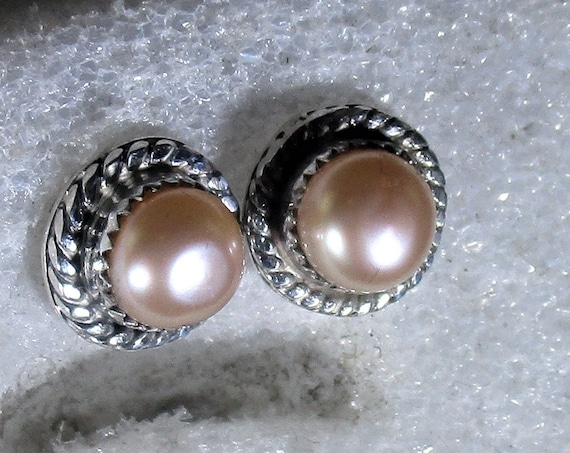 genuine freshwater cultured pink pearls handmade sterling silver post stud earrings