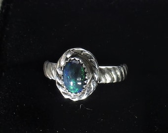 genuine Smoked Opal gemstone handmade sterling silver statement ring size 5