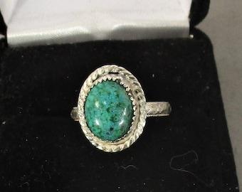 genuine chrysacola gemstone handmade sterling silver statement ring size 7