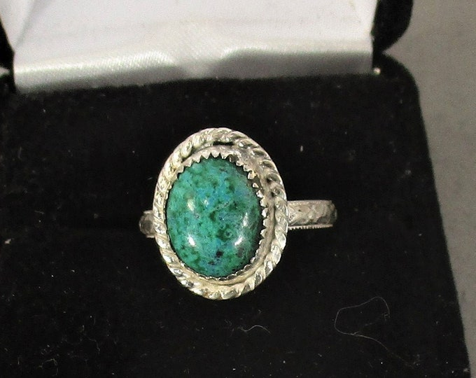 genuine chrysacola gemstone handmade sterling silver statement ring size 7