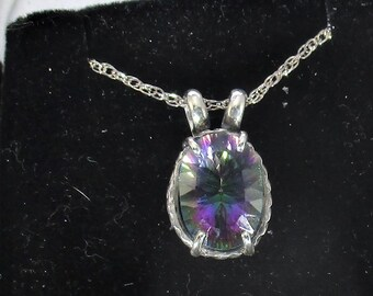 genuine mystic topaz gemstone handmade sterling silver pendant necklace