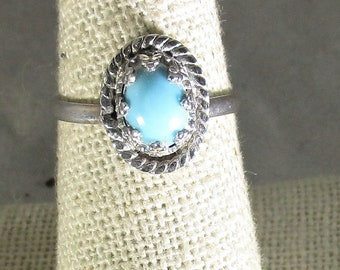 genuine Arizona turquoise gemstone cabachon handmade sterling silver solitaire ring size 7 1/2