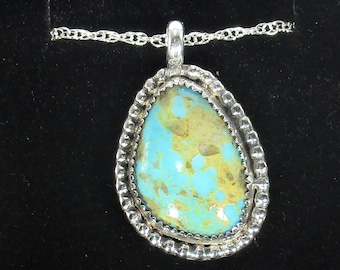 genuine old stock Ithaca peak high blue Kingman turquoise cabachon handmade sterling silver pendant necklace