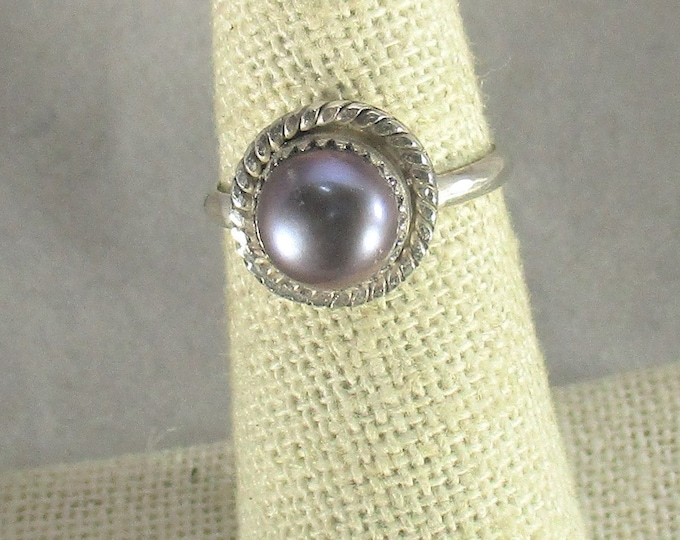 genuine black freshwater cultured pearl handmade sterling silver ring size 6