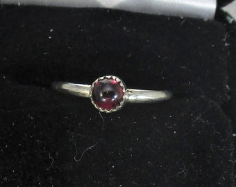 genuine Mozambique red garnet gemstone handmade sterling silver stacking  ring size 7 1/2