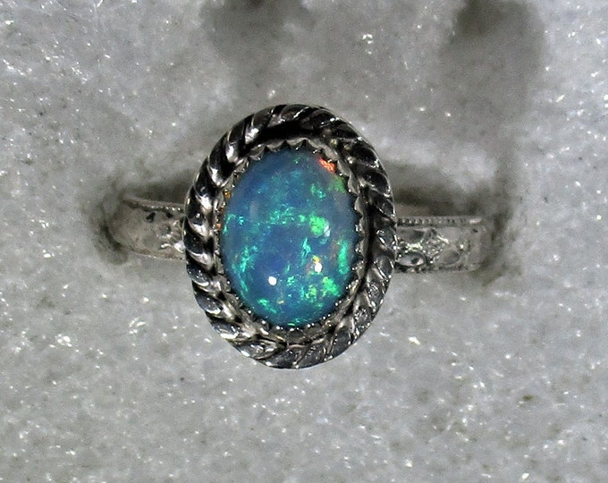 genuine 9x7 mm Ethiopian opal handmade sterling silver statement ring size 7