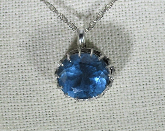 genuine London blue topaz gemstone handmade sterling silver pendant necklace