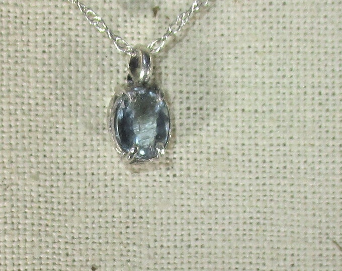 genuine aquamarine gemstone handmade sterling silver pendant necklace