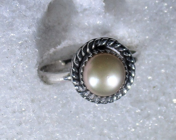 genuine freshwater cultured pink pearl handmade sterling silver statement ring size 8