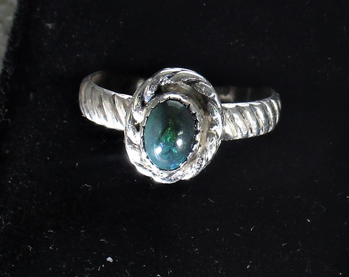 genuine Ethiopian smoked opal gemstone handmade sterling silver statement ring size 8