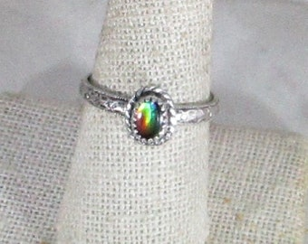 genuine ammolite gemstone handmade sterling silver ring size 9