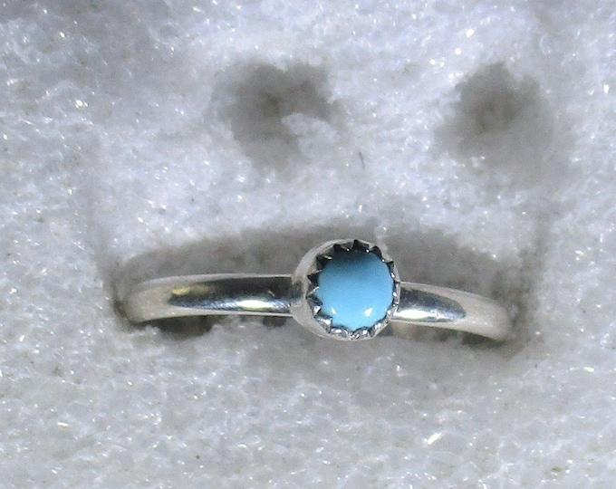 genuine Arizona turquoise gemstone handmad sterling silver stacking ring size 8
