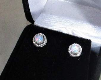 High grade Australian opal gemstone handmade sterling silver stud earrings