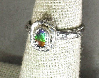 genuine rare three color ammolite triplet handmade sterling silver statement ring size 5