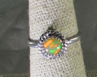 genuine Ethiopian opal gemstone handmade sterling silver solitaire ring size 6 1/4