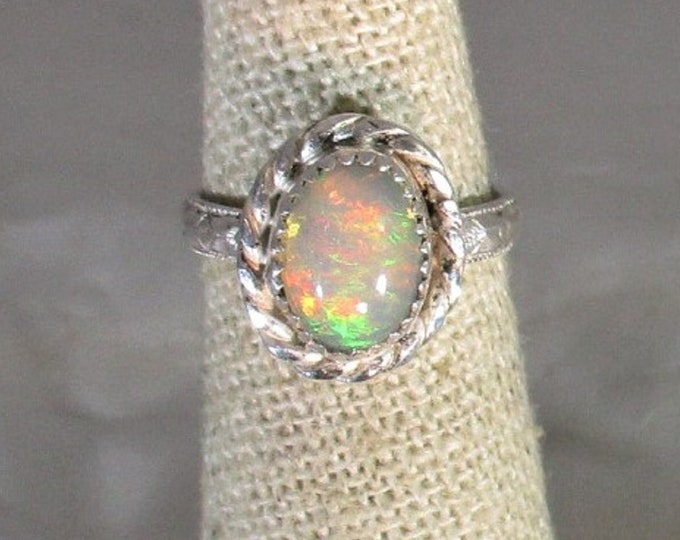 genuine Ethiopian opal gemstone handmade sterling silver solitaire ring  size 4