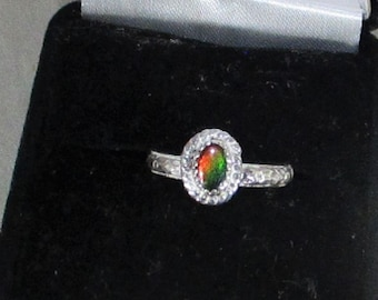 genuine ammolite gemstone handmade sterling silver ring size 6
