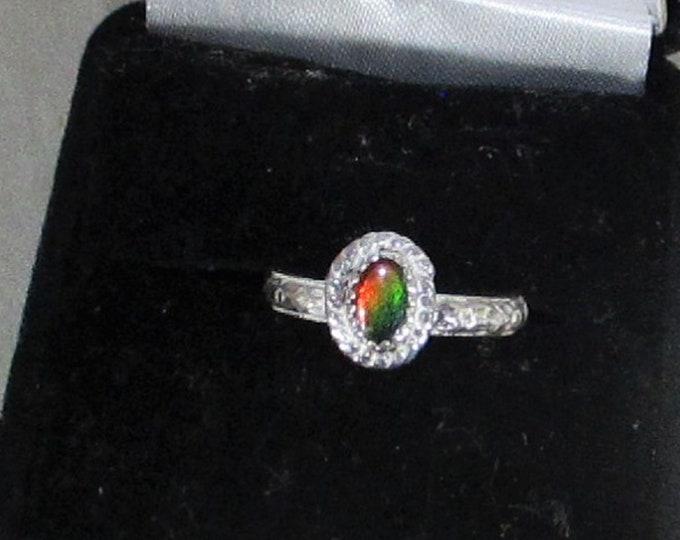 genuine ammolite gemstone handmade sterling silver ring size 6