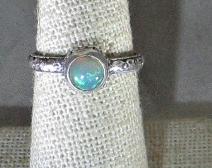 Genuine Ethiopian opal handmade sterling silver ring size 7