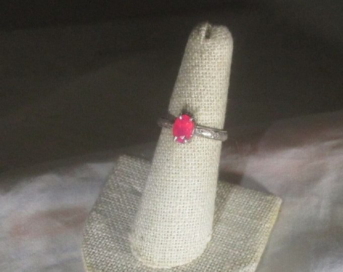 genuine hot pink faceted Ethiopian opal gemstone handmade sterling silver ring size 6 1/2