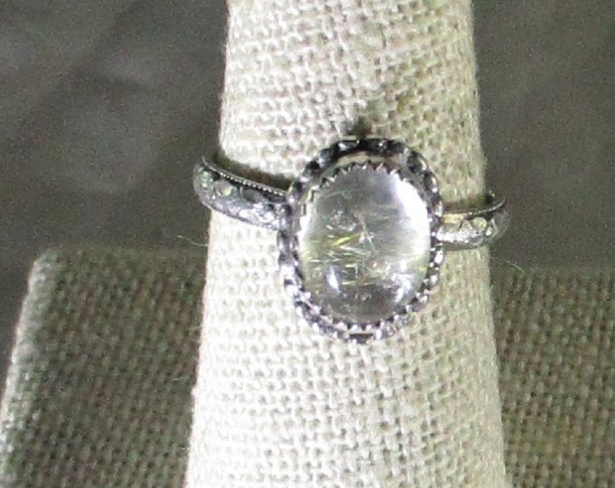 genuine golden rutile quartz gemstone handmade steriling silver solitaire ring size 8 1/4