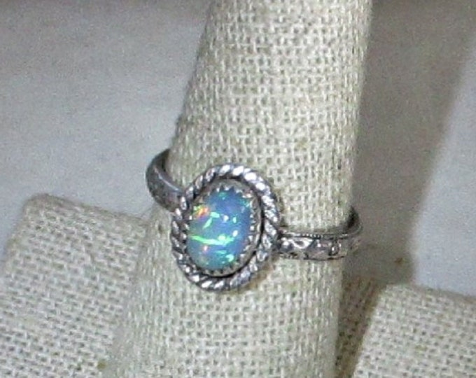 genuine Ethiopian opal sterling silver solitaire ring size 8 1/2