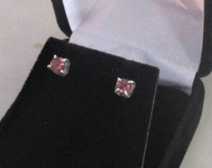 genuine pink tourmaline gemstone handmade sterling silver stud earrings
