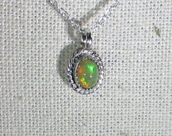 genuine Ethiopian opal handmade sterling silver pendant necklace
